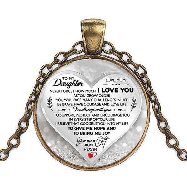 To My Son Daughter Gifts Love Encourage Pendant Chain Necklace Family Presents