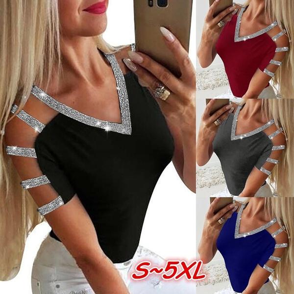 Summer, Fashion, Women Blouse, V-neck