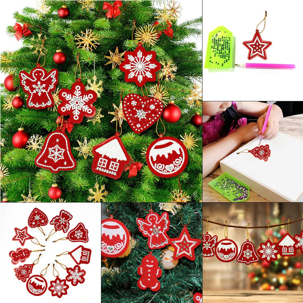 Diamond Painting Xmas Ornament Special Shape Rhinestones Christmas Tree Pendant