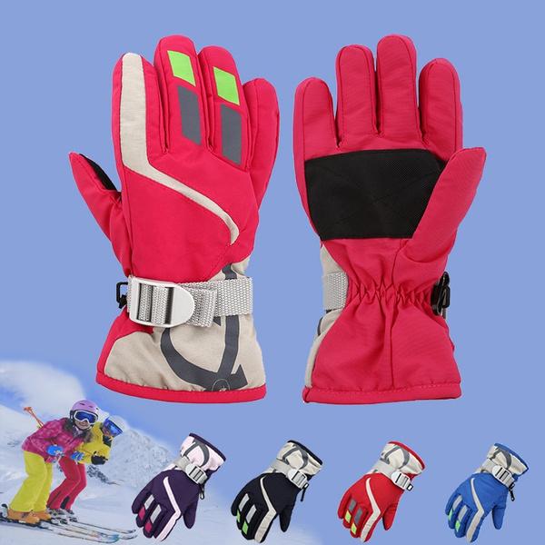 Windproof Waterproof Boy Girl Winter Gloves Warm Mittens Breathable Kids Ski.