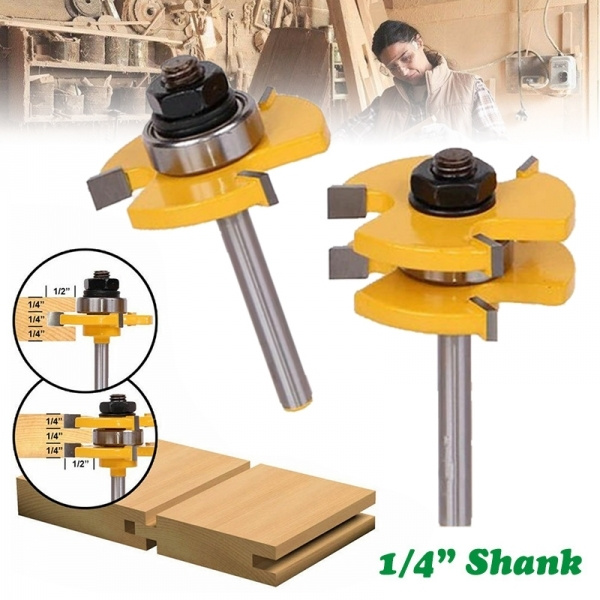 2pcs Tongue /& Groove Router Bit Set 1//4/'/' Shank T-type3-tooth Useful Cutter