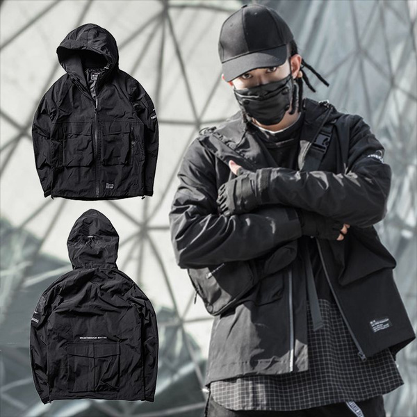 Men's Multi Pocket Jacket Windbreak Hooded Jacket Techwear Mens Clothes Street Style Bag by Wish