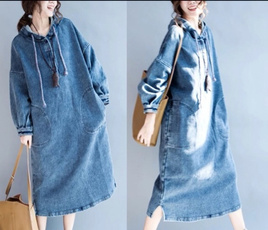 denim dress, Fashion, sleeve dress, Sleeve