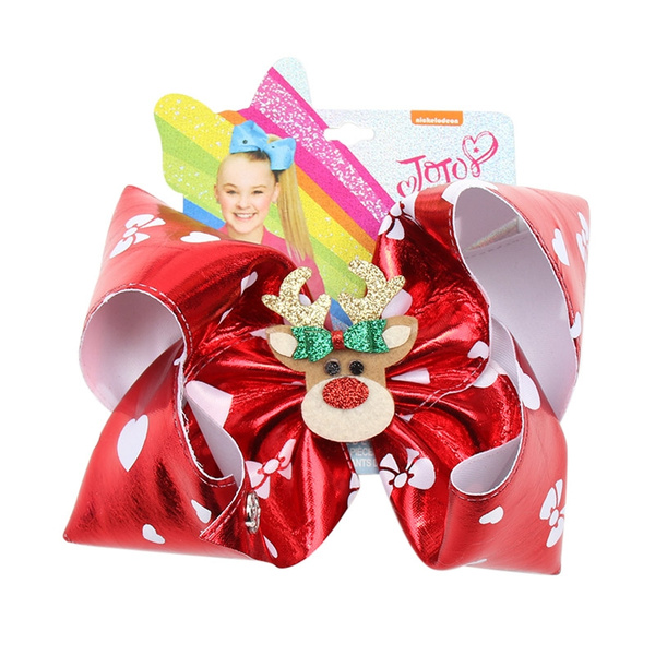 "7/"" Jojo Siwa Christmas Hair Bows with Glitter Snowman Santa Claus Clip for Girls"