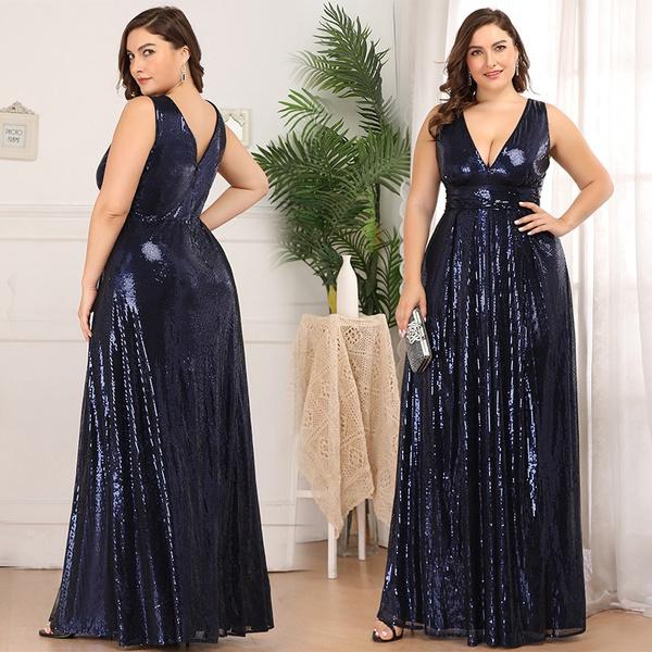Vestiti Eleganti Wish.Ever Pretty Navy Blue Plus Size A Line V Neck Formal Cocktail