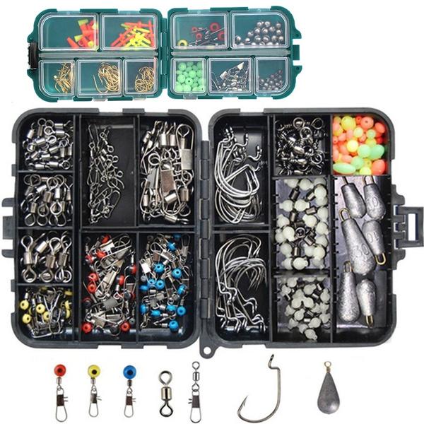 150pcs Fishing Accessories Kit Jig Head,Hooks,Sinker,Swivel Snap Fishing Tackle