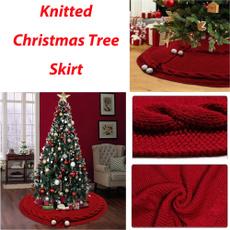 rustictreeskirtclose, Holiday, Home Decor, redchristmastreeskirt
