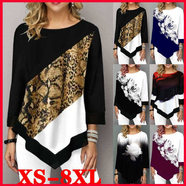 autumnwinter, Plus Size, Women Blouse, leopard print