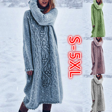 Plus Size, Long Sleeve, Dress, knitted