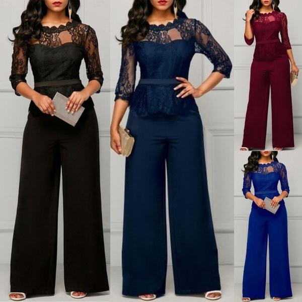Plus Size Womens Sleeveless Wide Leg Jumpsuit Lace Trim Office Playsuit Pants