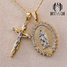 virginmarynecklace, necklaces for men, Cross necklace, gold