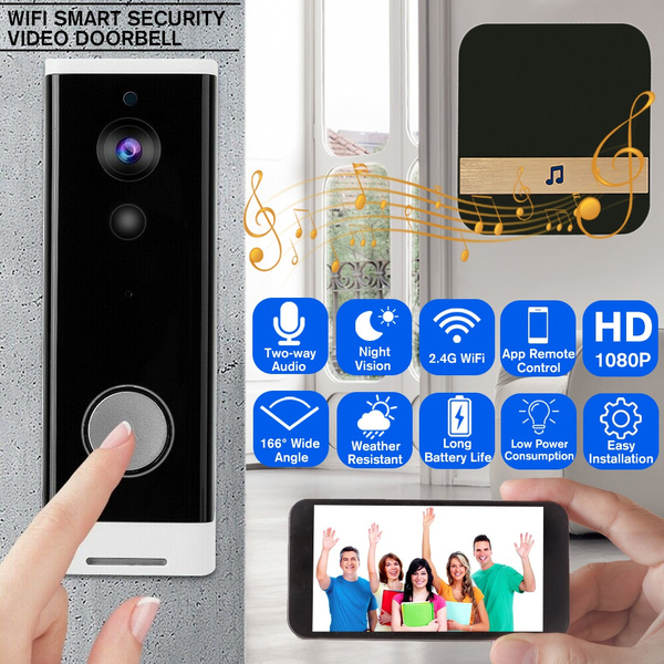 166° Wide Angle 1080P HD Video WiFi Doorbell Home Security Wireless  Anti-Theft Truly Wire-Free Door Bell Camera With Indoor Chime Support Free  Cloud