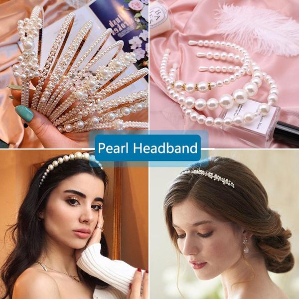 pearlhairband, Women, eleganthairhoop, hairornament