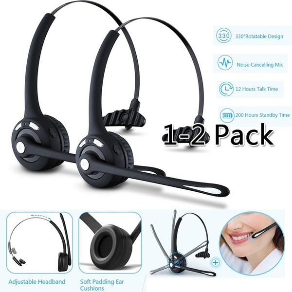 Pro Trucker Bluetooth Headset Cell Phone Headset With Microphone Office Wireless Headset Over The Head Earpiece On Ear Car Bluetooth Headphones For Cell Phone Skype Truck Driver Call Center Wish