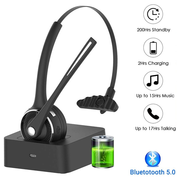 Pro Trucker Bluetooth Headset Wireless Headset With Microphone Charging Station Noise Cancelling Hands Free Phone Headset For Truck Driver Call Center Office Pc Skype Wish