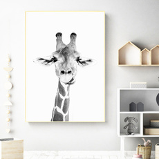 Graffiti Art Animal Canvas Painting Curious Giraffes Family Poster Prints Decorative Picture Artwork For Kids Room Decor-50X100Cm Sin marco
