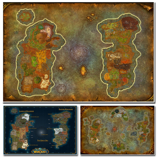 3 Choices Wall Art 1 Pieces Video Game World Of Warcraft Map