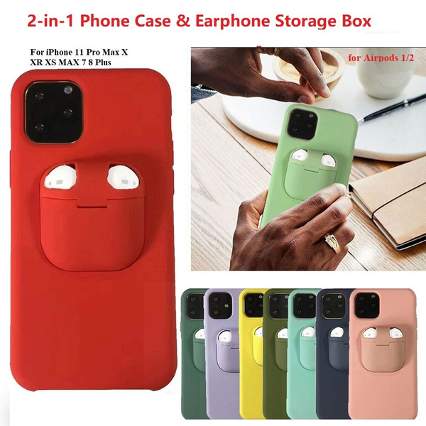 2 In 1 Phone Case Earphone Box For Iphone 11 Pro Xs Max Xr X
