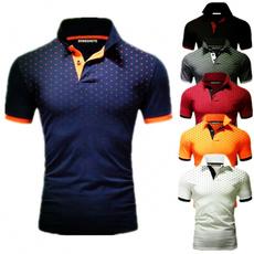 Turn-down Collar, Summer, Fashion, Slim T-shirt