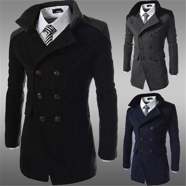Jackets for Men Leather,Mens Wool Patchwork Coat Warm Winter Trench Long Outwear Button Smart Overcoat Coats