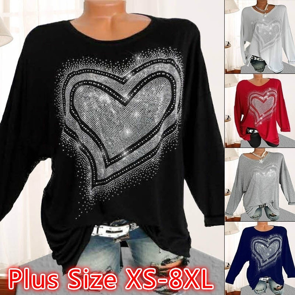 clearance prices innovative design new release Autumn And Winter Fashion Women Tshirt Love Heart Print Long ...
