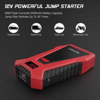 Vetomile Car Jump Starter 12000 Mah 500 A Dual 5 V USB Outputs and Smart Clamps Red 12 V with Lcd Display