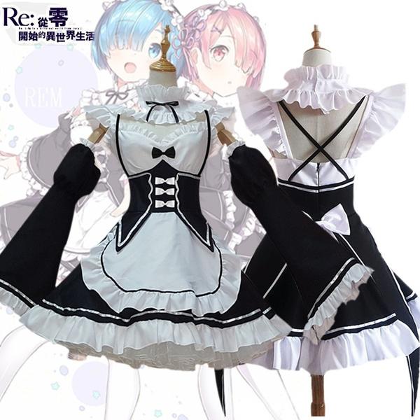 Re:Zero Kara Hajimeru Isekai Seikatsu Rem Ram Lolita Cosplay Dress Maid Costumes