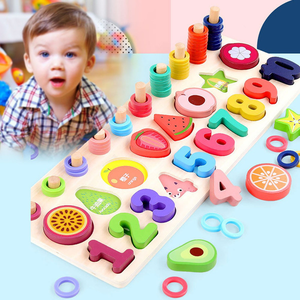 Wooden Puzzle for Toddlers Numbers and Fruit Learning Toy ...