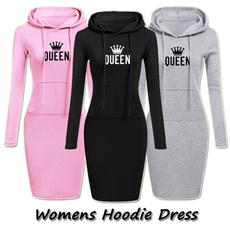 slim dress, hooded, Sleeve, Long Sleeve