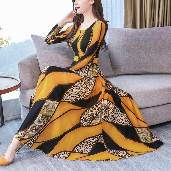 printeddres, Long Sleeve, long dress, Dress