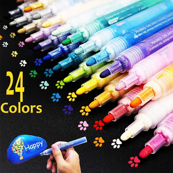 Acrylic Paint Markers 12 36 Colors Medium Point Acrylic Paint Pens Set By Smart Color Art Permanent Water Based Great For Rock Wood Fabric Glass