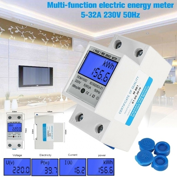 5-80A DDM15SD Energy Meter LCD Backlight Digital Display Single Phase Electronic Energy KWh Meter