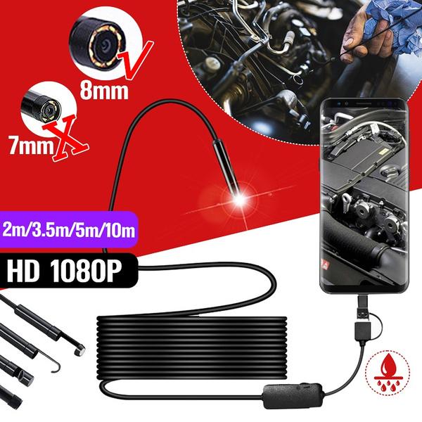 5M 8LED USB Endoscope Inspection Camera Semi-rigid Type 1200P HD Borescope 8mm