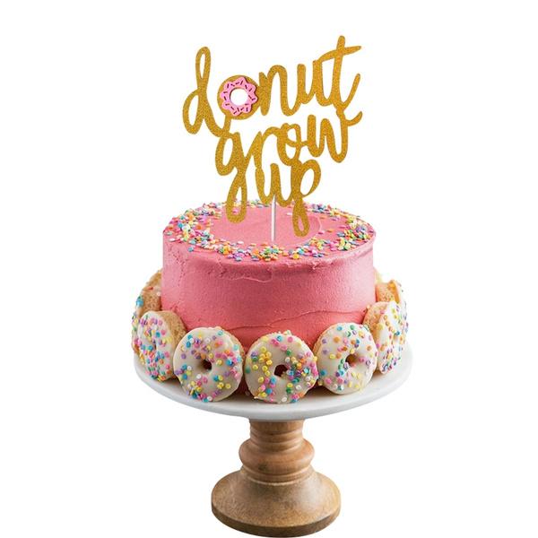 Tremendous Glitter Gold Letter Donut Grow Up Cake Topper Birthday Cake Decor Funny Birthday Cards Online Benoljebrpdamsfinfo