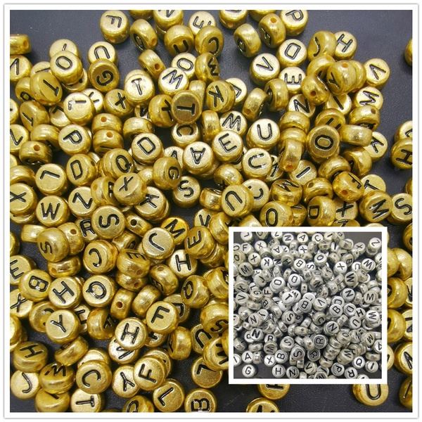 400 x Silver Alphabet Letter Beads 7MM MIxed,