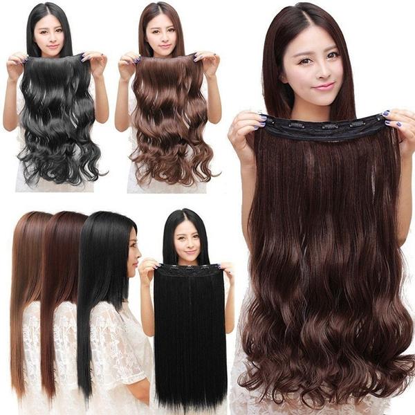 ponytailextension, brown, straightwig, curlywavy