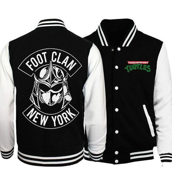 Foot Clan New York Teenage Mutant Ninja Turtles Baseball Jacket Sweatshirt Xxs 4xl Geek