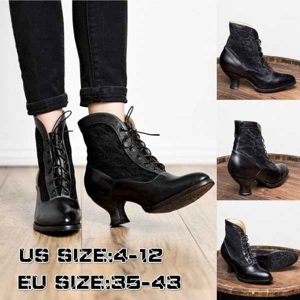 Women/'s Victorian Mid-Calf Boots Steampunk High Heel Rustic Lace Up Winter Shoes