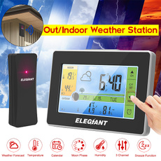 ELEGIANT Wireless LCD Weather Station Thermometer Hygrometer+Sensor+Alarm