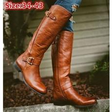 Plus Size, Leather Boots, Combat, long boots