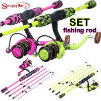 Fishing Rod Portable Spinning Reel Combo Pink Fishing Rod Pole Fishing Reel Kit For Women Kids Wish