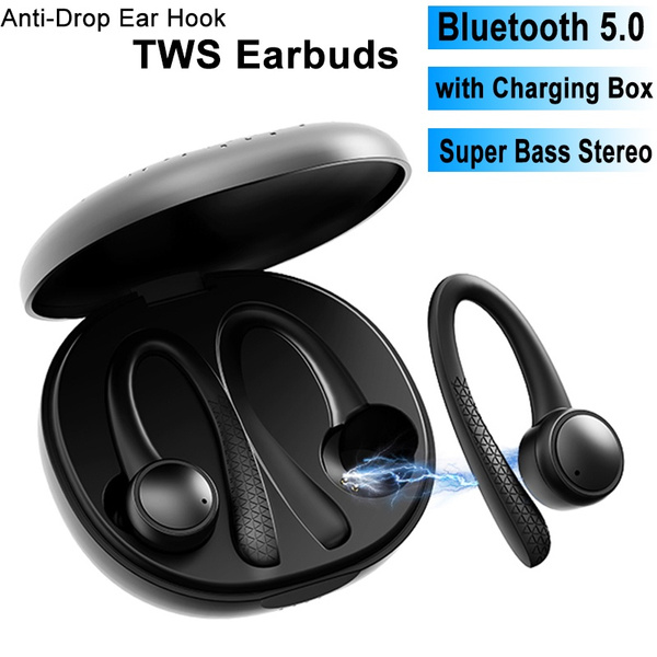 Ear Hook Tws Earbuds Bluetooth 5 0 Earphones Noise Cancelling Wireless Headphones Sport Waterproof In Ear Headset With Chaging Box Wish