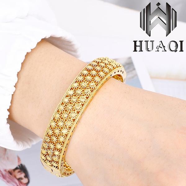 24k Gold Bangle Jewelry Flower Hollow