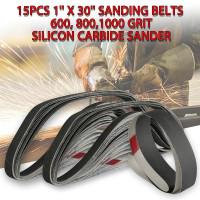 15Pcs 1/'/' x 30/'/' Sanding Belts 80,100,150,240,320 Grit Aluminum Oxide Sander