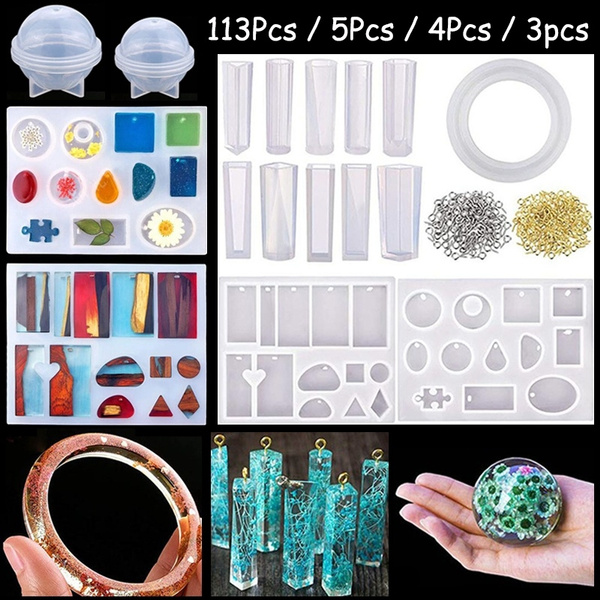 5pcs Crystal Silicone DIY Mold Making Resin Jewelry Pendant Mould Craft Tool Set