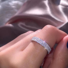 Sterling, DIAMOND, wedding ring, Engagement Ring