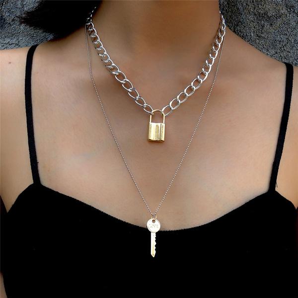Gothic Layered Padlock Key Chain Necklace Punk Rock Love Lock Link ...