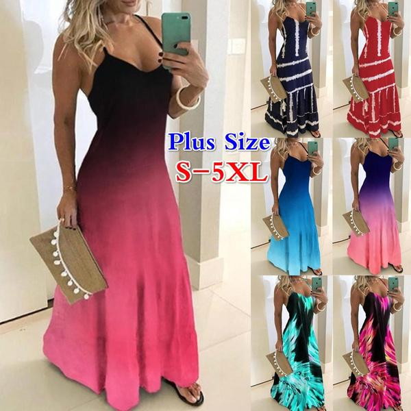 sleeveless, Plus Size, Colorful, Summer