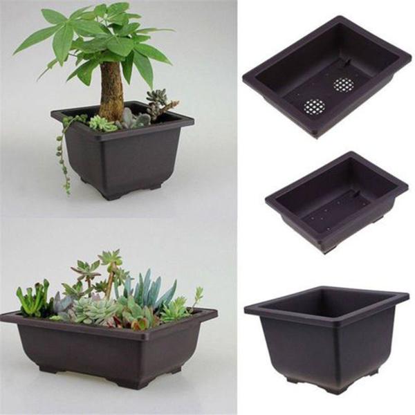 Plastic Flower Pot Balcony Square Basin Home Bonsai Plant Bowl Nursery Planter A