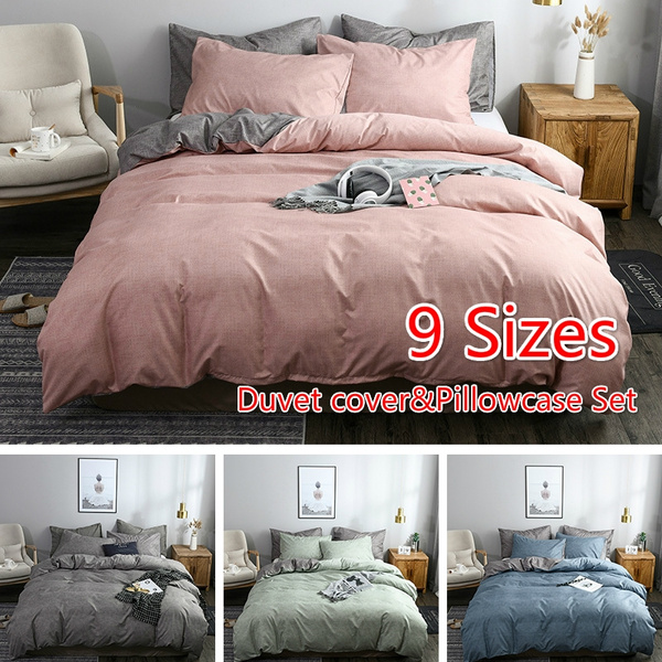 4 Colors Simple Style Bed Duvet Cover Pillowcase Set Fashion